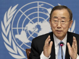 File photo of U.N. Secretary-General Ban addressing a news conference at the United Nations European headquarters in Geneva